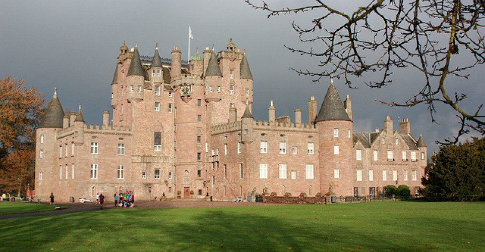 Childhood home of the Queen Mother, Glamis Castle in Glamis, Angus, Scotland. Photo via Flickr:Nick Bramhall