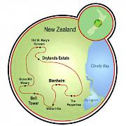 Trilha do Vinho da Nova Zelândia Mapa
