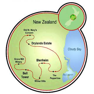 Trilha do Vinho da Nova Zelândia Map