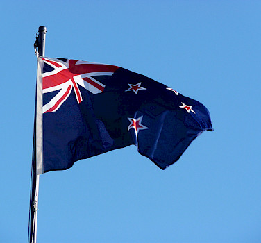 New Zealand flag. Photo via Flickr:Mafue