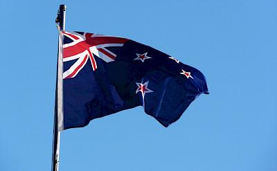 New Zealand flag. Photo via Flickr:Mafue