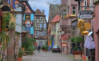 Shopping streets in Riquewihr, Alsace, France. Photo via Flickr:schnitzgeli1