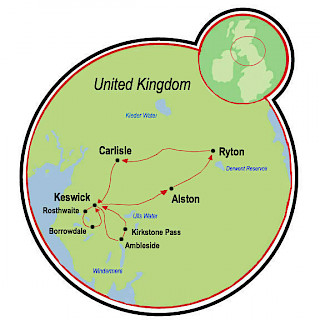 Hadrian's Wall and the English Lake District Map