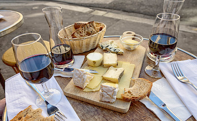 Wine & cheese board in Paris, France. Flickr:Joe deSousa