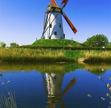 Windmill in Damme, Belgium. Photo via flickr: Vainsang