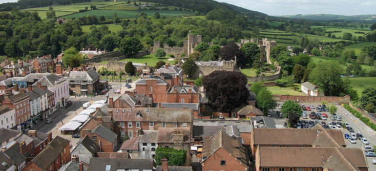 View of Ludlow from St. Laurence's Parish Church in England, United Kingdom. Wikimedia Commons:Peter Evans