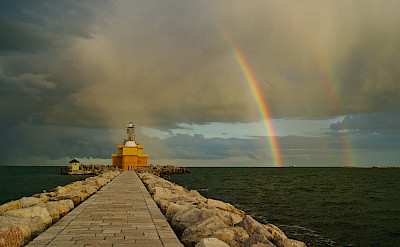 Lighthouse in Punta Sabbioni, a port for boats to Venice, Italy. Photo via Flickr:Zoltan Voros