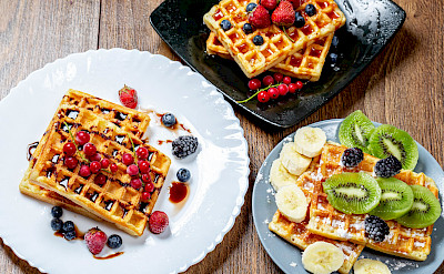 Belgian waffles in Belgium, of course! Flickr:Marco Verch Professional