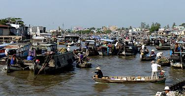 Floating market in Can Tho, Vietnam. Photo via Flickr:scjody