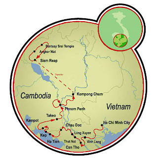 Saigón a Siem Reap Map