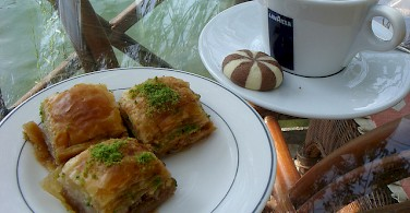 Baklava with coffee is a popular treat in Turkey. Photo via Flickr:steve.wilde