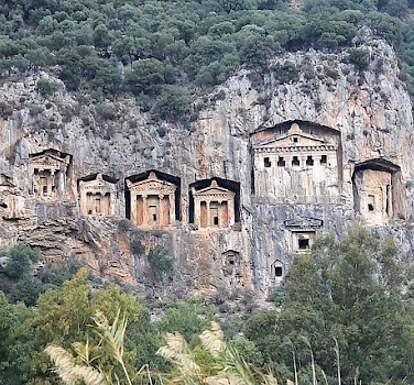 Lycian tombs built into cliffs near Dalyan, Turkey. Photo via Flickr:cvalette