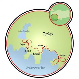 Dalyan to Fethiye Map