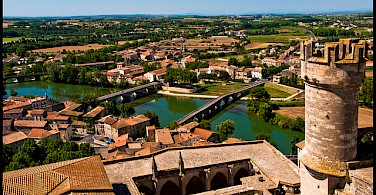 In Beziers, the Canal du Midi has an aqueduct over the Orb River in province Languedoc, France. Flickr:guillenperez