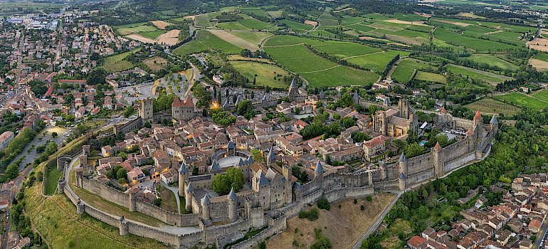 Carcassonne is the largest walled city in Europe. Part of the Canal du Midi tour in France. Wikimedia Commons:Chensiyuan