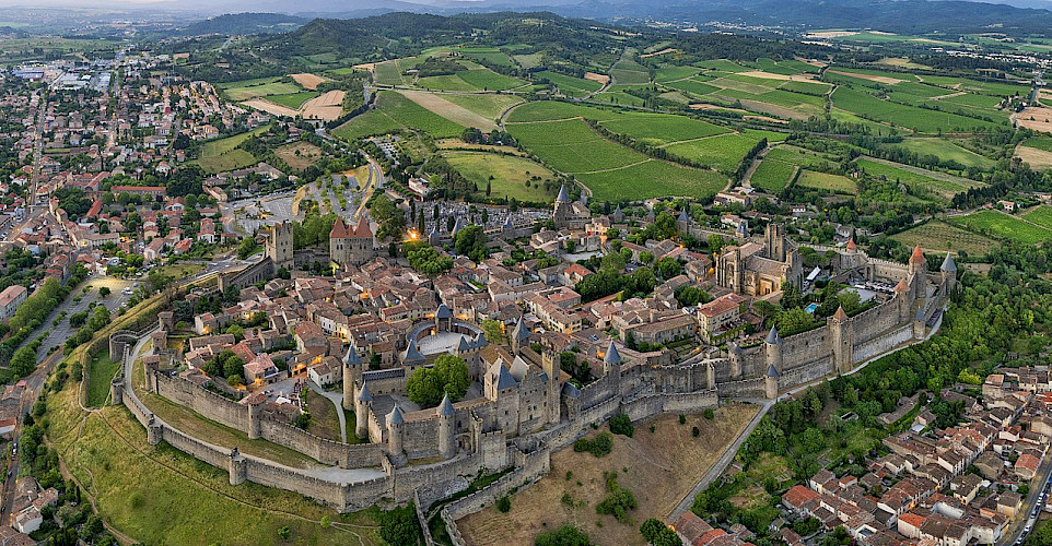 Carcassonne is the largest walled city in Europe. Part of the Canal du Midi tour in France. CC:Chensiyuan
