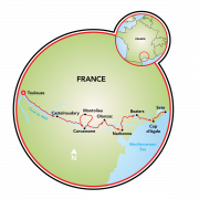 Southern France Canal du Midi Bike Tour Map