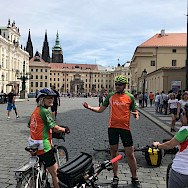 Hennie and her group biking through Prague, Czech Republic.