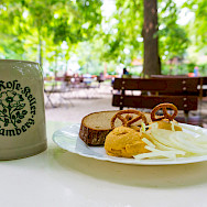 Bavarian snack at Wilde Rose Beer Garden in Bamberg, Germany. Flickr:Johannes Schwanbeck
