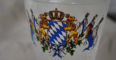 Flag of Bayern on a beer glass, typical Germany. Photo via Flickr:Christian Benseler