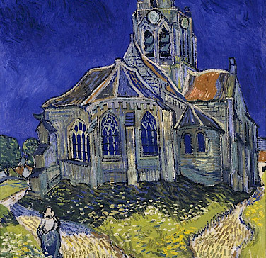 Church in Auvers-sur-Oise painted by Vincent van Gogh. He also died and is buried here.