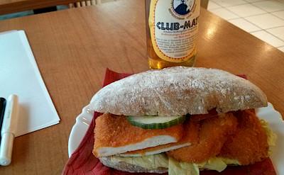Schnitzel sandwich, Germans love their schnitzel! Flickr:Wilhelm Lappe