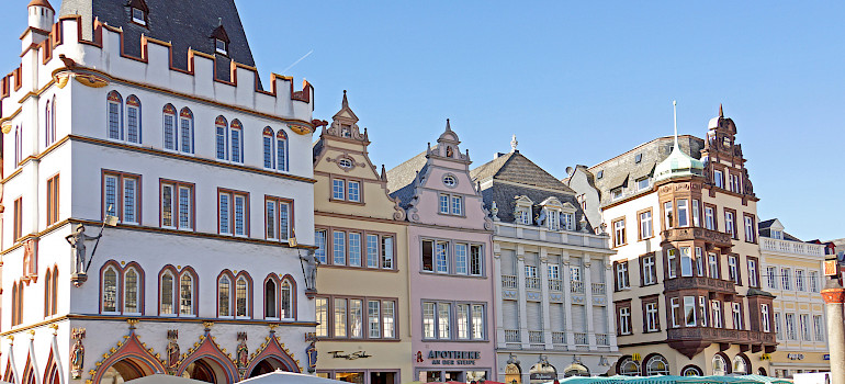 Marketplace in Trier, Germany along the Mosel River. Photo via Flickr:Dennis Jarvis