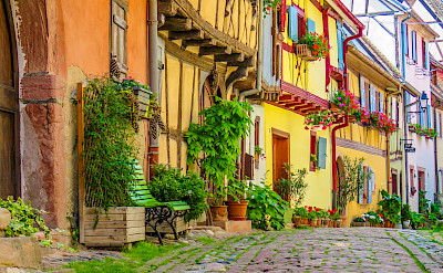 Eguisheim in Alsace, France is a gorgeous town. Flickr:Kiefer