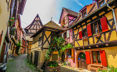 Decorative Eguisheim is known for its great Alsace wine. Flickr:Keifer