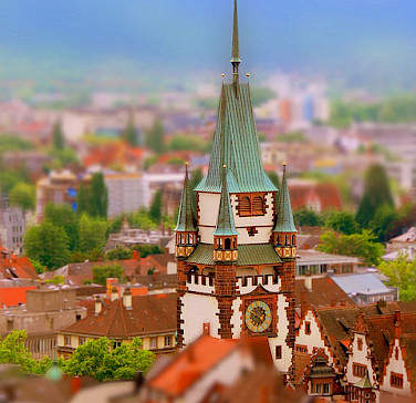 Clock tower in Freiburg im Breisgau, Germany. Photo via Flickr:rolohauck