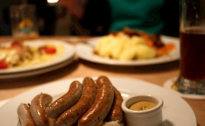 Traditional German sausages in Freiburg, Germany. Flickr:Alejandro Delacruz
