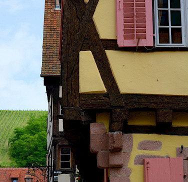Beautiful architecture in Riquewihr, Alsace, France. Photo via Flickr:Pug Girl