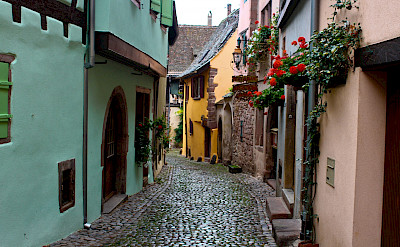 Cobblestone streets in Riquewihr, Alsace, France. Flickr:Alejandro Delacruz