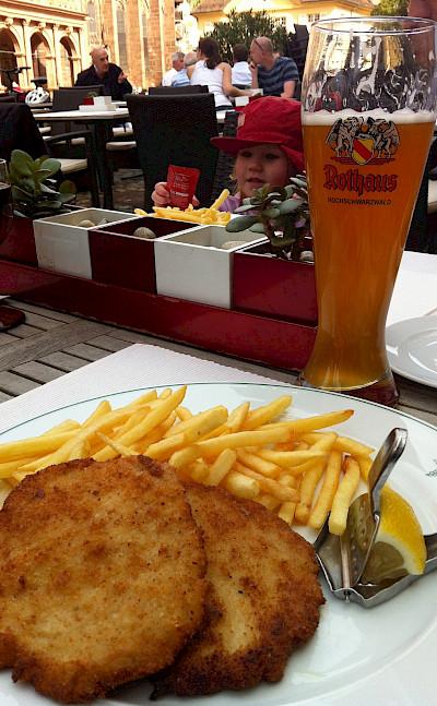 Schnitzel und Hefeweizen in Freiburg-im-Breisgau, Germany. Photo via Flickr:Jeremy Keith