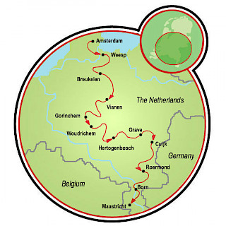 Amsterdam to Maastricht Map