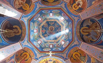 Ceiling of St Peter's Cathedral at Vysolopetrovsky Monastery, Moscow, Russia. Creative Commons:Даниил Африн