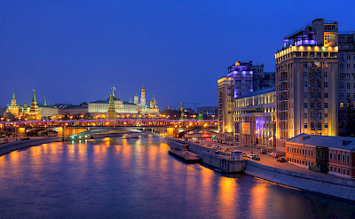 Volga River to the Kremlin in Moscow, Russia. Flickr:Pavel Kazachkov