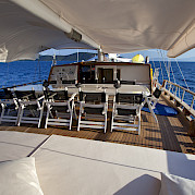 Sun deck with outdoor seating - Osman Kurt | Bike & Boat Tours