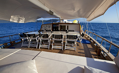 Sun deck with outdoor seating - Osman Kurt | Bike & Boat Tours