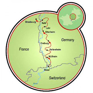 Kaiserstuhl and Baden Wine Route Map
