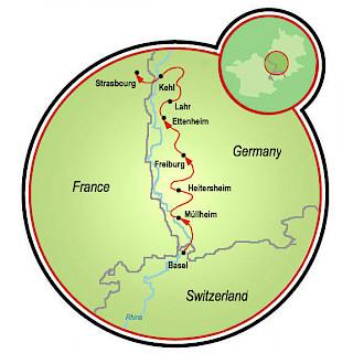 Bike and Wine Basel to Strasbourg Map