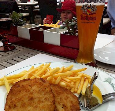 Schnitzel und Hefeweizen in Freiburg im Breisgau, Germany. Photo via Flickr:Jeremy Keith