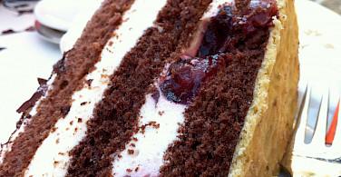 Schwarzwaelderkirschtorte, or Black Forest Cake, in Freibrug, Germany. Photo via Flickr:Jeremy Keith