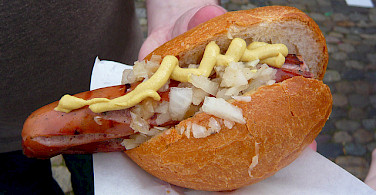 Traditional wurst in Freiburg, Germany! Photo via Flickr:WordRidden