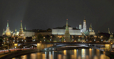 "Moscow at night. Photo via Pavel ""KoraxDC"" Kazachkov"
