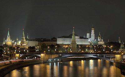 "Moscow at night. Photo via Pavel ""KoraxDC"" Kazachkov"