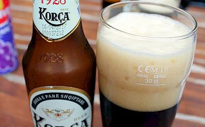 Dark Korçë beer (birra) in Albania. CC:arianit