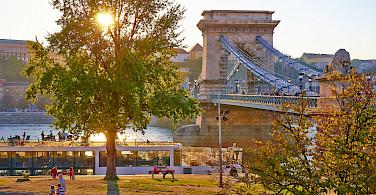 Chain Bridge over River Danube in Budapest, Hungary. Photo via Flickr:Moyan Brenn
