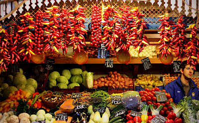Fruite and peppers for sale in Budapest, Hungary. Photo via Flickr:Andreas Lehner