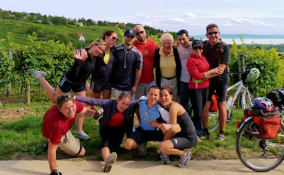 Group photo on the Lake Balaton Bike Tour in Hungary.